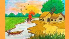 How To Draw Riverside Village Scenery Drawing Scenery Landscape Scenery Paintings, Pastel Landscape, Watercolor Landscape Paintings, Landscape Drawings, Fantasy Landscape, Easy Scenery Drawing, Landscape Drawing Tutorial, Tree Watercolor Painting, Yellow Painting