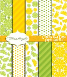Lemon Lime digital papers. Citrines digital by MissAngelClipArt