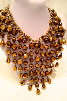 Fiery Bronze Glass Bead Multi Strand Chain Statement Necklace Bib Necklace Gold Chain