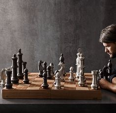 Restoration Hardware Giant Vintage Chess set. Huge chess pieces are made of aluminium. $399