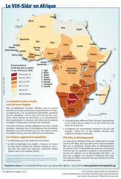 Carte du VIH-Sida en Afrique Taux de prévalence du VIH-Sida chez les adultes, de 0 à 2% jusqu'à plus de 20%.