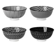 4er Set Schale China, tief, schwarz/weiß