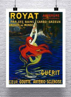 Mermaid//Mermaids//Vintage Antique Mermaid Painting//Poster//Mermaid Love//17x22 inch