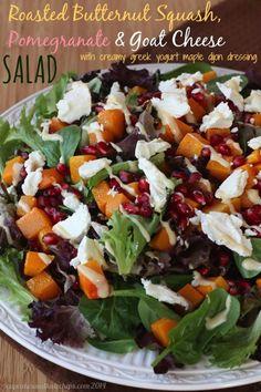 Roasted Butternut Squash, Pomegranate & Goat Cheese Salad (with Creamy Greek Yogurt Maple Dijon Dressing) | cupcakesandkalechips.com | gluten free, vegetarian