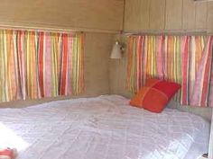time for a nap to refuel the creative energy. full sized bed in 1968 Shasta camper