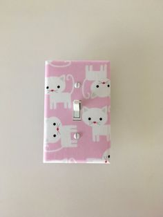 Pink Kittens Cats Light Switch Plate Urban Zoologie Outlet Cover S Room Bathroom Decor Robert Kaufman Wall Nursery Switchplate