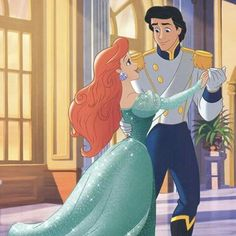 Ariel and Eric from the Disney movie The Little Mermaid, based on the story The Little Mermaid by Hans Christain Andersen.