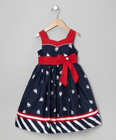 Ahoy, matey! Little sweeties can set sail for fun wearing this nautical outfit. Crafted in quality cotton, it's got darling details, from its sailboat print to its big red bow at the waist.