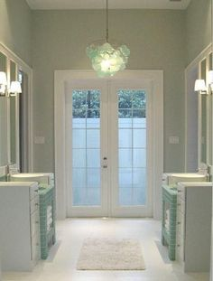 Master Bath: Sherwin Williams Sea Salt SW6204 and Anthropologie Chandelier