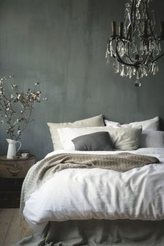 Contemporary Master Bedroom with Chandelier, West Elm Belgian Linen Duvet Cover - White, Hardwood floors