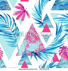 Abstract watercolor triangle and exotic leaves seamless pattern. Triangles with palm leaf, marble, grunge textures. Geometric background in retro vintage or Hand painted summer illustration Painted Leaves, Hand Painted, Tropical Prints, Man Ray, Geometric Background, Abstract Watercolor, Palm Springs, Triangles, Retro Vintage