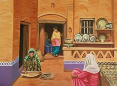 This Painting depicts a scene of Punjab village where women are indulged in their routine gossip while performing their routine work as the men are away in the fields for work in the morning. Scenery Paintings, Indian Art Paintings, Original Paintings, Original Art, Village Scene Drawing, Art Village, Art Sketches, Art Drawings, Painting Illustrations