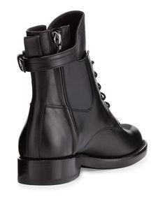 Leather Buckle-Strap Combat Bootie, Black