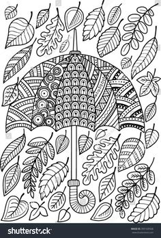 Hand draw vector doodle coloring page for adult. I love Autumn. An Umbrella and Leaves. Fashion Umbrella Style