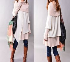 Fruit of Summer  poncho collared layered woolen от idea2lifestyle