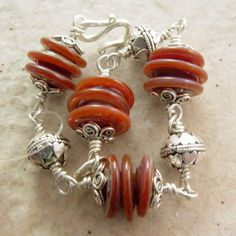 Handmade Bracelet Caramel Dream Glass and Bali by joolzbylisa, $72.00