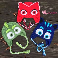 Handmade crochet baby hats and kids hats from a pet-free, smoke-free home! Ready to ship! Order today, will be shipped the following business day! (PJ Masks hats) PJ Masks! Its time to be a HERO! These adorable PJ Masks hats are the perfect gifts for your little PJ Masks fan!