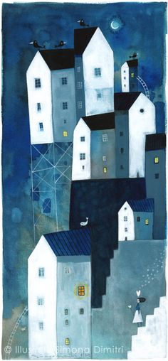 """""""simona dimitri  'at night the sweet pain of love...' Lovely and blue... what dreams are being dreamed in these little houses?"""