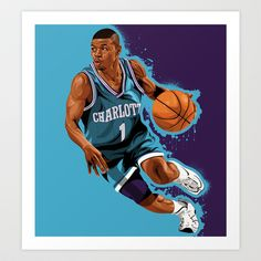 37dafc27bef Buy Mugsy Bogues  Charlotte Bobcats by Dark Wing Illustration as a high  quality Art Print. Charlotte HornetsNba PlayersBasketball ...