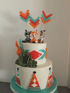 Woodland animal theme cake with southwestern influence. Baby shower cake