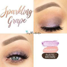 Sparkling Grape Eye Look uses three SeneGence ShadowSense: Lavendar Shimmer, Mulberry & Rustic Brown ShadowSense.  These cream to powder eyeshadows will last ALL DAY on your eye.  #shadowsense #eyeshadow