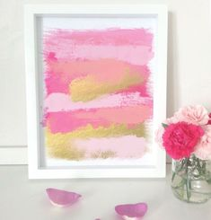 Brush stroke abstract art print - home decor - gold pink