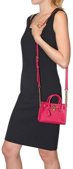 2c40991e975a Michael By Michael Kors Mini Hamilton Leather Shoulder Bag in Pink - Lyst  Michael Kors Tote