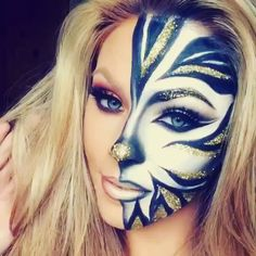 RP- @jadedeacon  Mini snapchat video from the other day of glitter zebra I done   Glitter Zebra ☺️ Products: Mask I used @makeupforeverofficial flash color palette in white and black. @wonderlandmakeup 'snowey' white eyeshadow all over. Blended the black cream with @meltcosmetics dark matter eyeshadow. Gold glitter from an art and hobby shop. Liner: @nyxcosmetics lipquid black liner. Lashes: @houseoflashes in Iconic  Brushes: @sigmabeauty #zebraprint #zebra #glitter #amazingmakeupart #...
