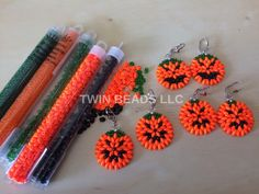 twin beads llc bead store san antonio texas halloween pumpkin earrings made with super duo beads - Halloween Stores In San Antonio Texas