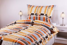 Povlečení krep - oranžovo/šedý pruh + lupínka   JAN Peří Comforters, Blanket, Home, Creature Comforts, Quilts, Ad Home, Blankets, Homes, Cover