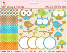 owl clipart birds clip art digital papers frames forest woodland - BUY 2 GET 2 FREE - Owls and Friends Bake Shop Bundle. $7.50, via Etsy.