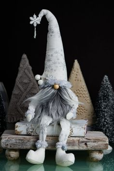 A trove of finely crafted fiber art and mixed media creations by Kris M. Sewn or needle felted whimsical gnomes and mixed media decorations for your home. Christmas Gnome, Winter Christmas, Christmas Crafts, Christmas Decorations, Christmas Ornaments, Gnomes For Sale, Handmade Dolls Patterns, Dog Treat Jar, Craft Free