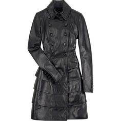 Womens Leather Trench Coat with Leather Ruffeld Layers In the Back... ($210) ❤ liked on Polyvore featuring outerwear, coats, jackets, burberry trenchcoat, leather trench coat, burberry coat, genuine leather coat and double-breasted coat