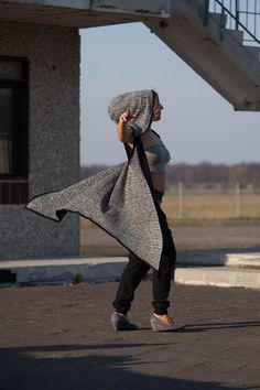 Jedi cape style hoodie vest // handmade / by VALOdesigns Drop Crotch Shorts, Low Crotch Pants, Cape Jacket, Vest, Capes, Hoods, Environment, Urban, Unisex