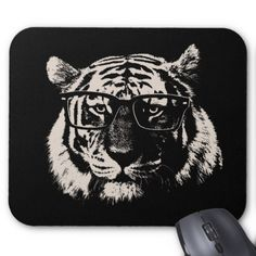 Hipster Tiger With Glasses Mouse Pad
