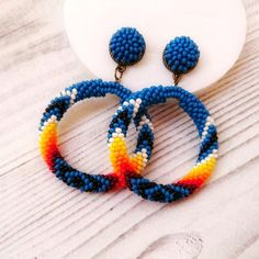Native inspired hoop drop earrings in blue and 🔥 Seed Bead Earrings, Silver Hoop Earrings, Beaded Earrings, Etsy Earrings, Beaded Jewelry, Beaded Bracelets, Drop Earrings, Native American Beading, Native American Fashion