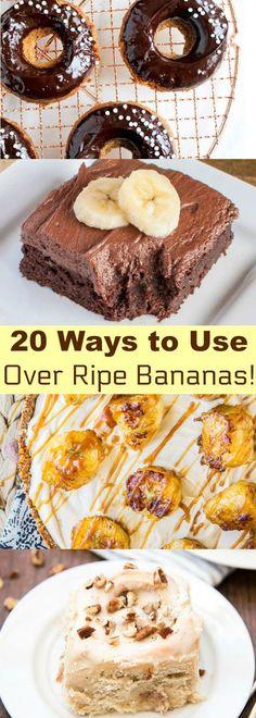 20 Mouthwatering Ways to Use Over-Ripe Bananas! Banana Recipes Easy, Banana Dessert Recipes, Fruit Recipes, Easy Desserts, Baking Recipes, Delicious Desserts, Yummy Food, Overripe Banana Recipes, Leftover Banana Recipes