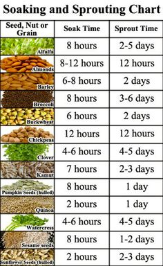 Soaking and Sprouting Nuts and Seeds Chart