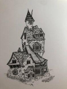 Drawing of The Burrow by Lauren Bekker Harry Potter Sketch, Harry Potter Journal, Arte Do Harry Potter, Fanart Harry Potter, Images Harry Potter, Harry Potter Tattoos, Harry Potter Drawings, Harry Potter Wallpaper, Harry Potter Fan Art