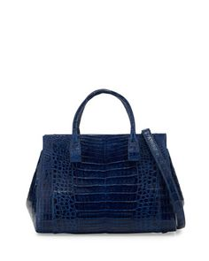 Navy has won me over ! Daisy+Medium+Crocodile+Bag,+Electric+Blue+by+Nancy+Gonzalez+at+Bergdorf+Goodman.