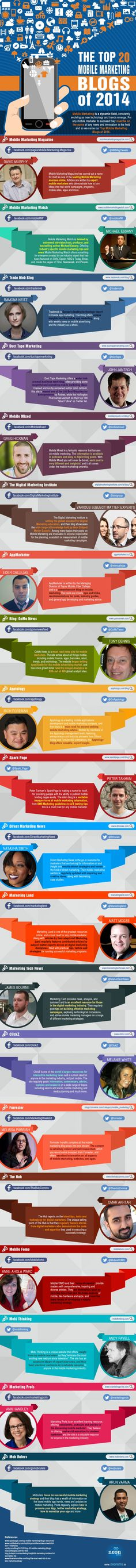 The Top 20 Mobile #Marketing Blogs of 2014:  Mobile marketing is a dynamic field, constantly evolving as new technology and trends emerge. For any mobile marketer to succeed they must be on the pulse of any news an innovation in the filed.  This infographic  is a must read for any innovative mobile marketer looking for tips, trends, and inspiration on how to run a successful mobile marketing campaign.