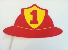 Fireman hat on a stick party photo props photo booth by ScrapStarz, $6.00