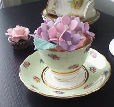 Hydrangea cupcake in vintage cup  saucer by the Handmade Cake Company