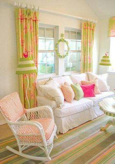 Cottage chic pink and green living room with white wicker rocking chair Coastal Living Rooms, Living Room Green, Cottage Living, Home And Living, Living Room Decor, Beach Cottage Style, Beach House Decor, Cottage Chic, Home Decor