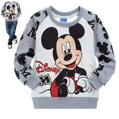 Free shipping! 6pcs/lot wholesale lovely pure cotton long sleeves t-shirt children clothing cartoon clothing mickey mouse