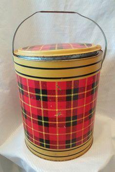 Vintage 50 Cooler, Plaid, Skotch Plaid Cooler, Metal Cooler, Ice Bucket, Planter, Cabin Decor, Cottage Decor, 50's Decor, Art Deco Decor 65