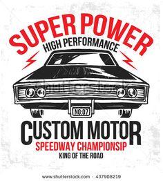 Vector vintage sport racing car, T-shirt Graphics, Vintage typography