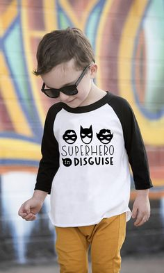 The coolest Superhero shirt!! This Superhero in Disguise shirt is awesome for your little Superhero to wear to the park or his birthday party! He will be the most awesome Superhero around!