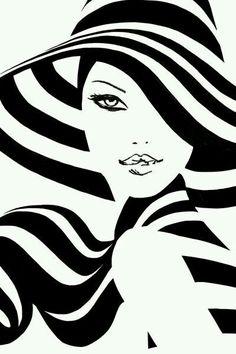 Spring Stripes - Plot Tutorial and Ideas Art Pop, Diamond Paint, Black Art, Black White, Black And White Painting, Belle Photo, Line Art, Fashion Art, Art Drawings