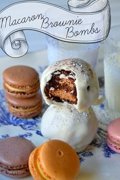 Macaron Brownie Bombs! Fudgy brownies surrounding crisp, chewy macarons.  The ultimate decadent treat! #macarons #browniebombs #fudge